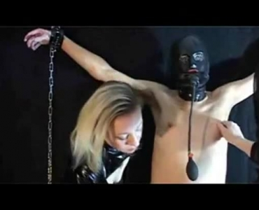 Awesome Brunette Domina Milking A Guy