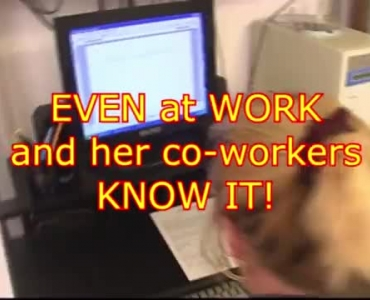 Chloe Gayla Is Taking Her Co- Worker's Huge Dildo, While His Wife Is At Work