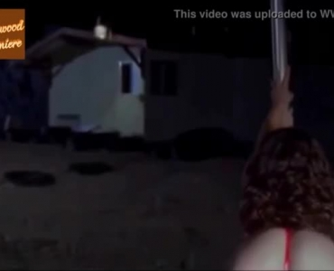 Ebony Pole Dancer, Onyx Silk Is Wearing Sexy Red Bikini While Getting Ready For A Performance