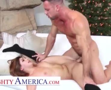 Naughty Brunette, Krissy Lynn Is Enjoying, While Two Horny Guys Are Drilling Her Wet Slit