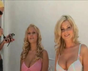 Horny Blonde Busty Topless Posing In Her Bikini