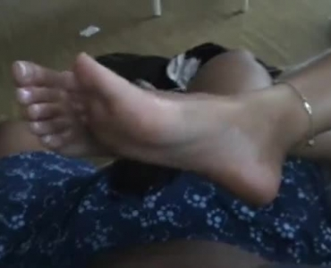 Busty Brunette Gives The Footjob And Gives Deepthroat Lesson