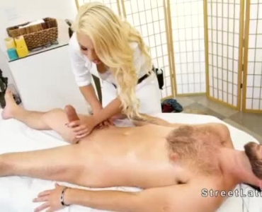 Sinful Blonde Masseuse Blowing The Cock Of Her Client