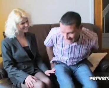 Sexyised Blonde Milf Posing On Sofa Alone
