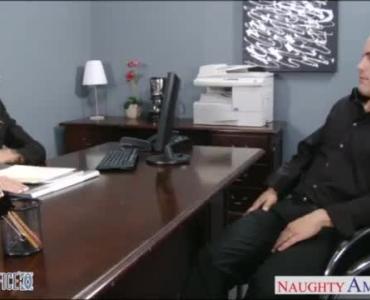 Sexy Secretary, Faith Starr Is Kneeling And Sucking Her Boss's Huge Dick, Like A Slut